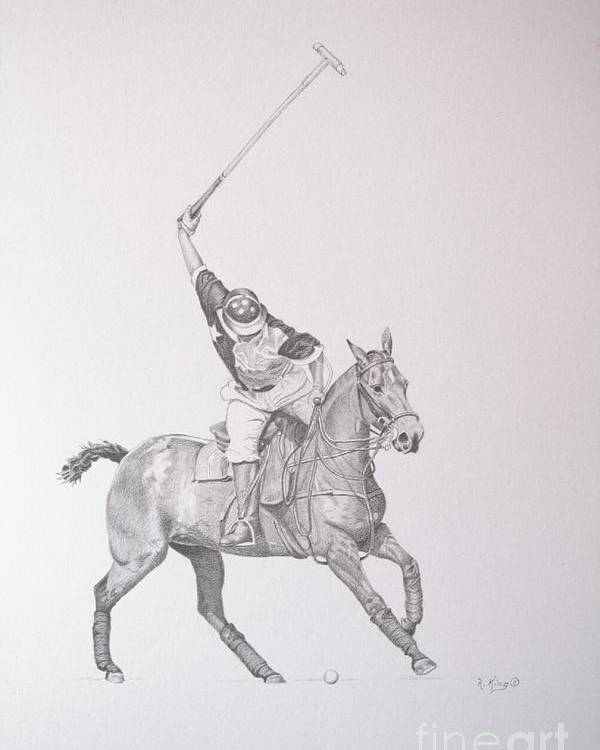Roena King Poster featuring the drawing Graphite Drawing - Shooting For The Polo Goal by Roena King