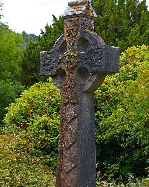 Glendalough Poster featuring the photograph Grave Cross 4 by Nancy L Marshall