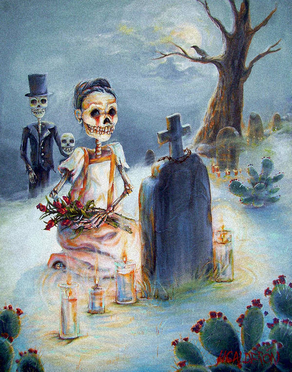 Skeletons Poster featuring the painting Grave Sight by Heather Calderon