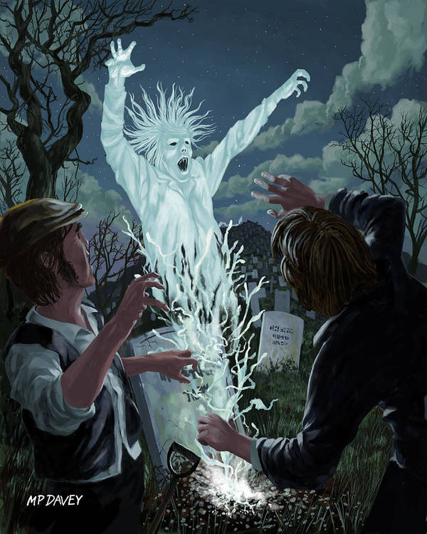 Graveyard Poster featuring the painting Graveyard Digger Ghost Rising From Grave by Martin Davey