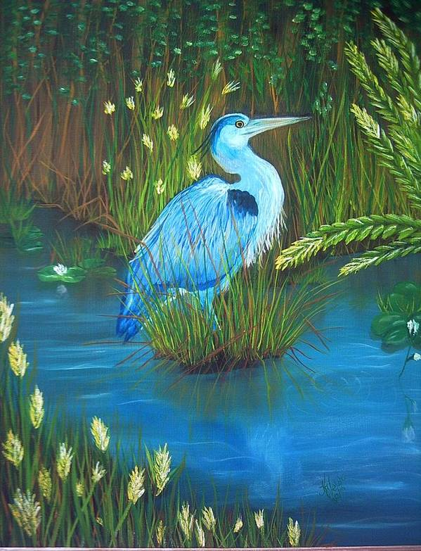 Birds Poster featuring the painting Great Blue Heron by Kathern Welsh