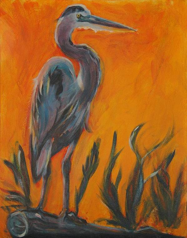 Wildlife Poster featuring the painting Great Blue by Stephanie Allison