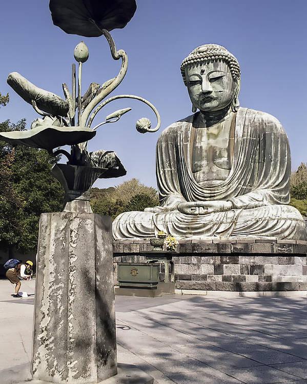 Zen Poster featuring the photograph Great Buddha Of Kamakura 2 - Japan by Daniel Hagerman