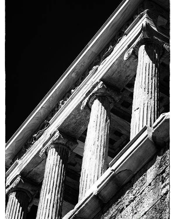 Greek Columns Poster featuring the photograph Greek Columns by John Rizzuto