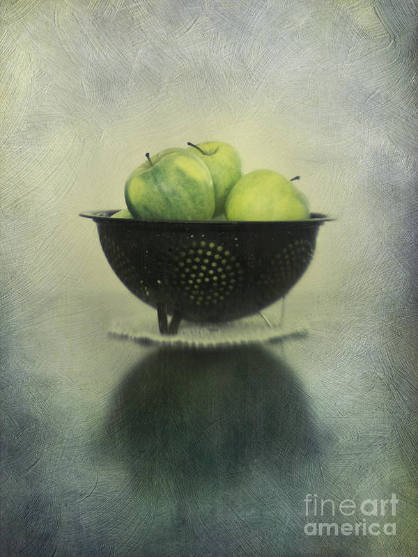 Colander Poster featuring the photograph Green Apples In An Old Enamel Colander by Priska Wettstein