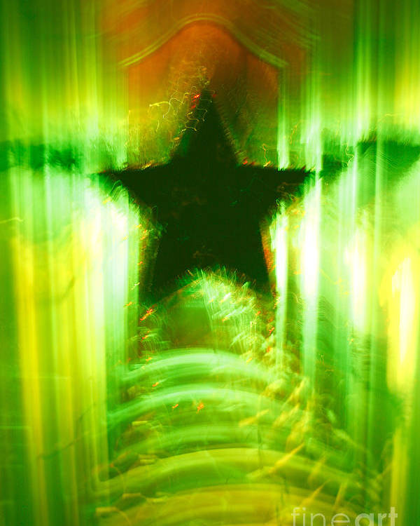 Christmas Poster featuring the photograph Green Christmas Star by Gaspar Avila
