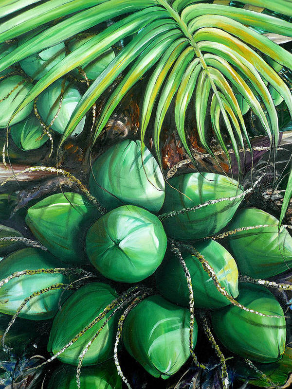 Tropical Painting Caribbean Painting Green Painting Palm Tree Painting Greeting Card Painting Botanical Painting Tree Painting Poster featuring the painting Green Coconuts 3 Sold by Karin Dawn Kelshall- Best