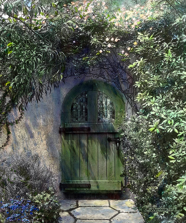 Tranquil Poster featuring the painting Green Door by Terry Reynoldson