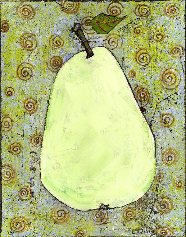 Art Poster featuring the painting Green Pear Art With Swirls by Blenda Studio