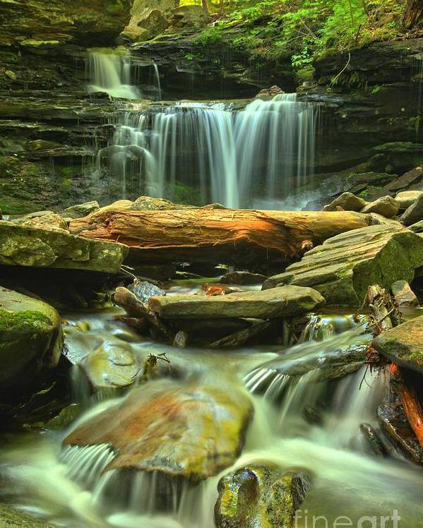 Ricketts Glen Waterfalls Poster featuring the photograph Green Spring Cascades by Adam Jewell