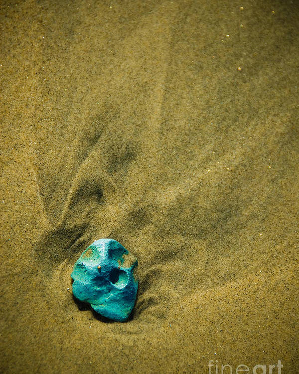 Sand Poster featuring the photograph Green Stone by Cindy Tiefenbrunn