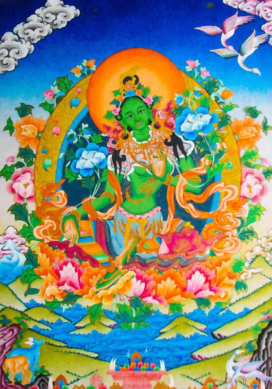 Green Tara Poster featuring the photograph Green Tara 12 by Jeelan Clark