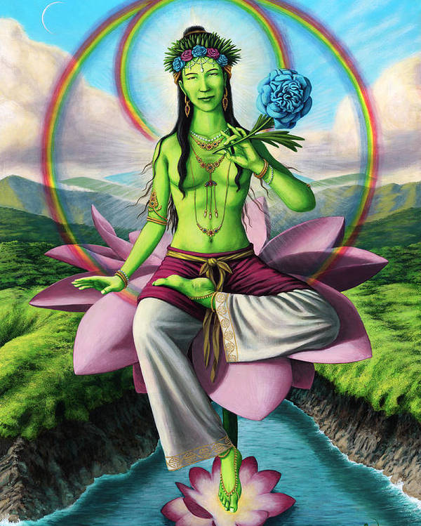 Buddhist Art Poster featuring the painting Green Tara by Jonathan Weber