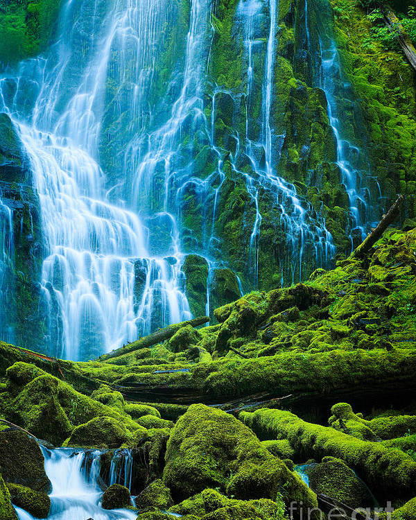 America Poster featuring the photograph Green Waterfall by Inge Johnsson