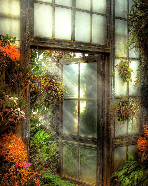 Savad Poster featuring the photograph Greenhouse - The Door To Paradise by Mike Savad