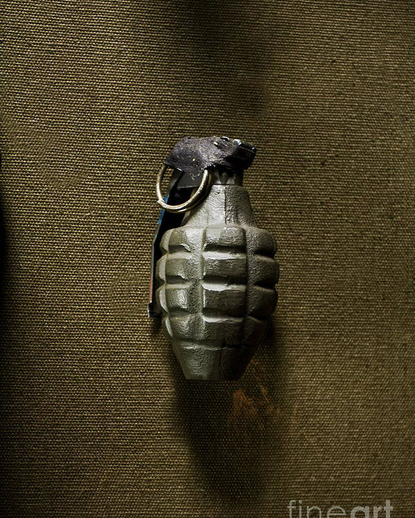 Grenade; Weapon; Military; War; Green; Pin; Destruction; Destructive; One; Still Life; Us; United States; Bomb; Wwii; World War Two; Camouflage; Olive; Explosive; Fireball; Missile; Projectile; Ammunition; Cartridge; Iron; Shadows; Imposing; Ominous; Foreboding; Canvas Poster featuring the photograph Grenade by Margie Hurwich