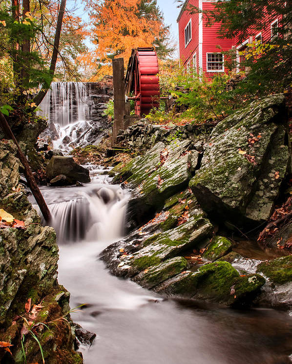 Grist Mill Poster featuring the photograph Grist Mill-bridgewater Connecticut by Thomas Schoeller