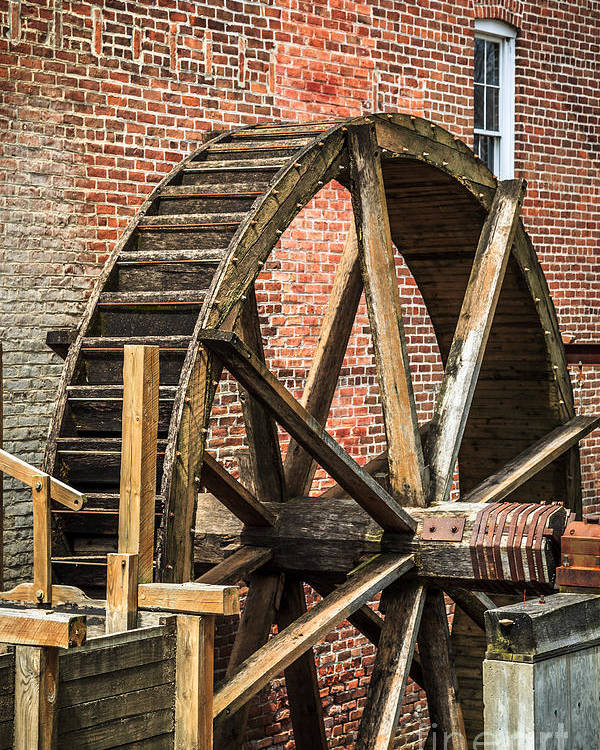 1800's Poster featuring the photograph Grist Mill Water Wheel In Hobart Indiana by Paul Velgos