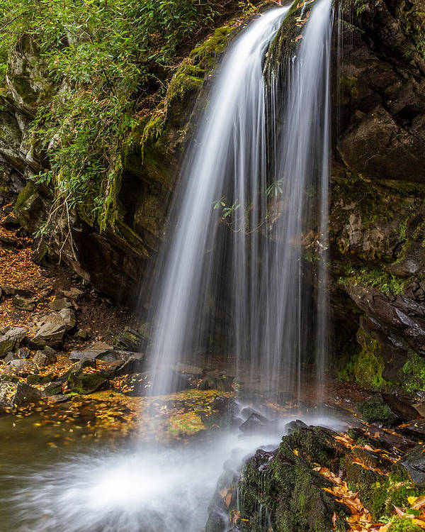 Tennessee Poster featuring the photograph Grotto Falls Great Smoky Mountains by Pierre Leclerc Photography