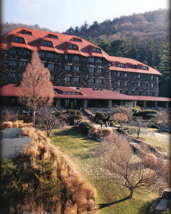 Grove Park Inn Poster featuring the photograph Grove Park Inn In Early Winter by Paulette B Wright
