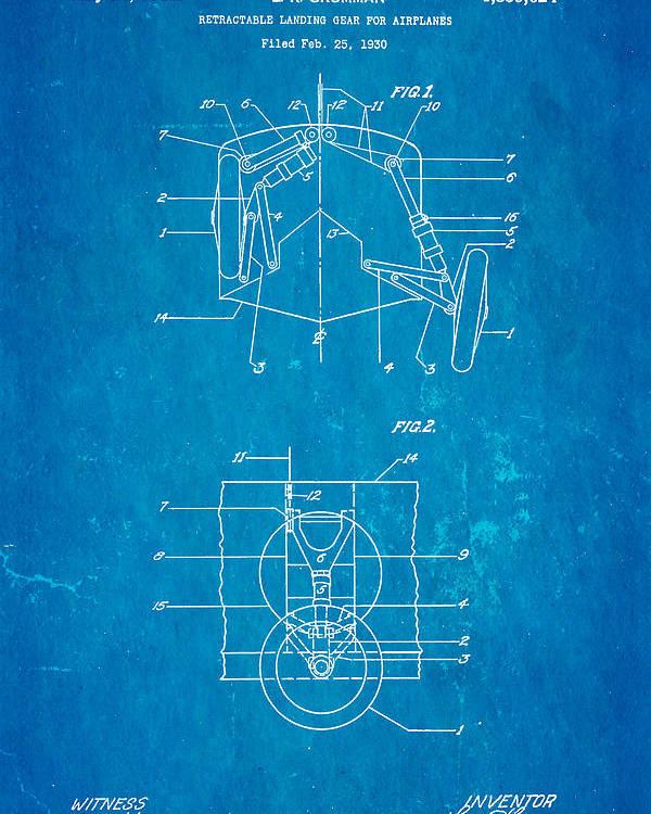 Aviation Poster featuring the photograph Grumman Retractable Landing Gear Patent Art 1932 Blueprint by Ian Monk