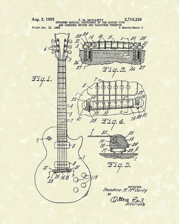 Mccarty Poster featuring the drawing Guitar 1955 Patent Art by Prior Art Design