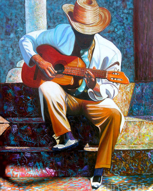 Cuban Art Poster featuring the painting Guitar by Jose Manuel Abraham