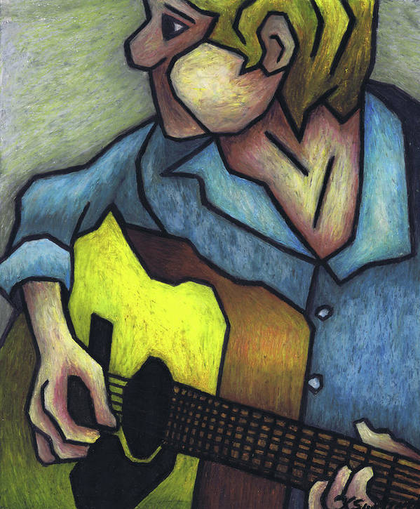 Guitar Poster featuring the painting Guitar Man by Kamil Swiatek