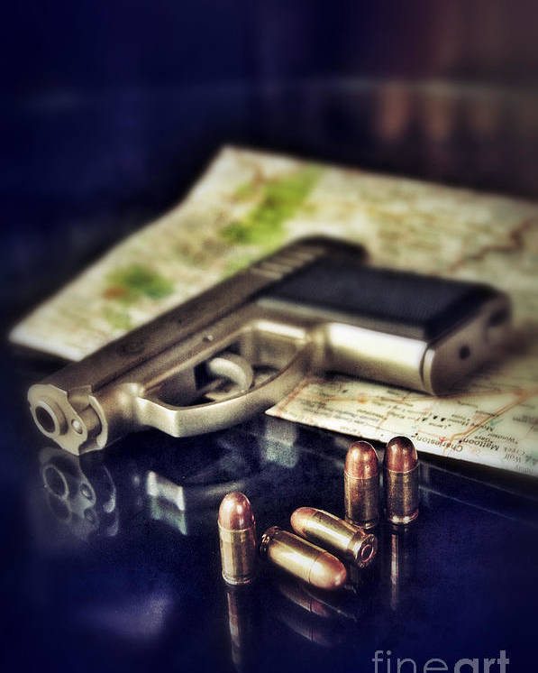 Gun Poster featuring the photograph Gun With Bullets And Map by Jill Battaglia