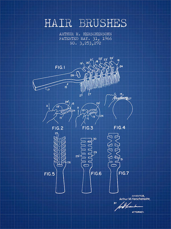 Hair brush patent from 1966 blueprint poster by aged pixel hair brush poster featuring the digital art hair brush patent from 1966 blueprint by aged malvernweather Image collections