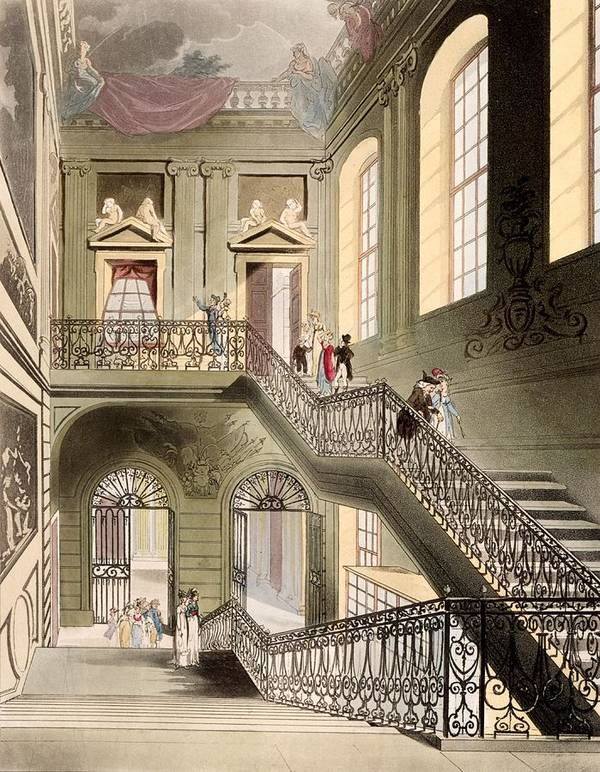 Hall And Staircase Poster featuring the drawing Hall And Staircase At The British by T. & Pugin, A.C. Rowlandson