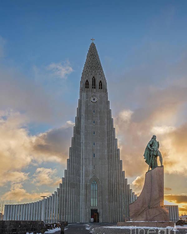 Reykjavik Poster featuring the photograph Hallgrimskirkja by Bahadir Yeniceri