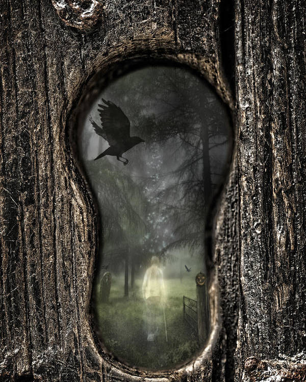 Ghostly Poster featuring the photograph Halloween Keyhole by Amanda Elwell