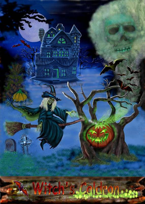 Witch Poster featuring the digital art Halloween Witch's Coldron by Glenn Holbrook