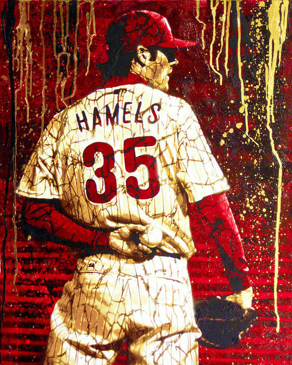 Cole Hamels Poster featuring the painting Hamels - The Executioner by Bobby Zeik
