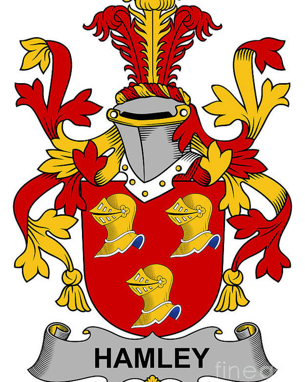 Hamley Poster featuring the digital art Hamley Coat Of Arms Irish by Heraldry