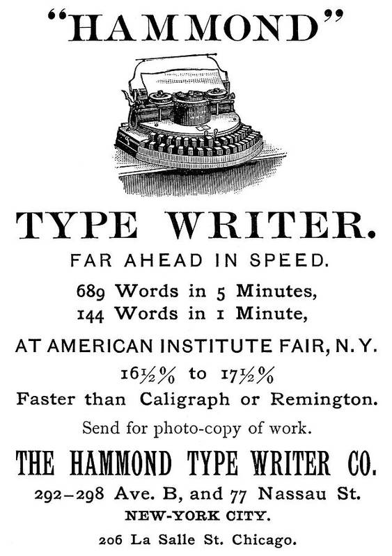 1889 Poster featuring the painting Hammond Typewriter, 1889 by Granger
