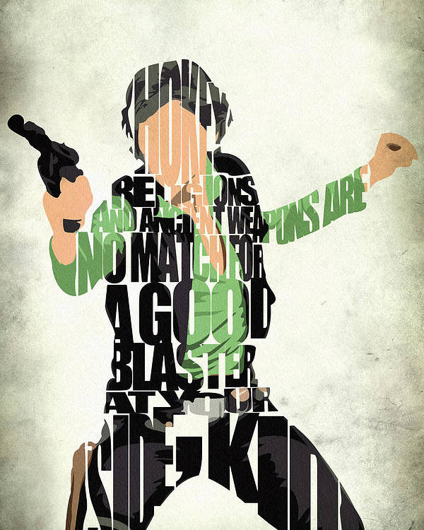 Han Solo Poster featuring the painting Han Solo From Star Wars by Inspirowl Design