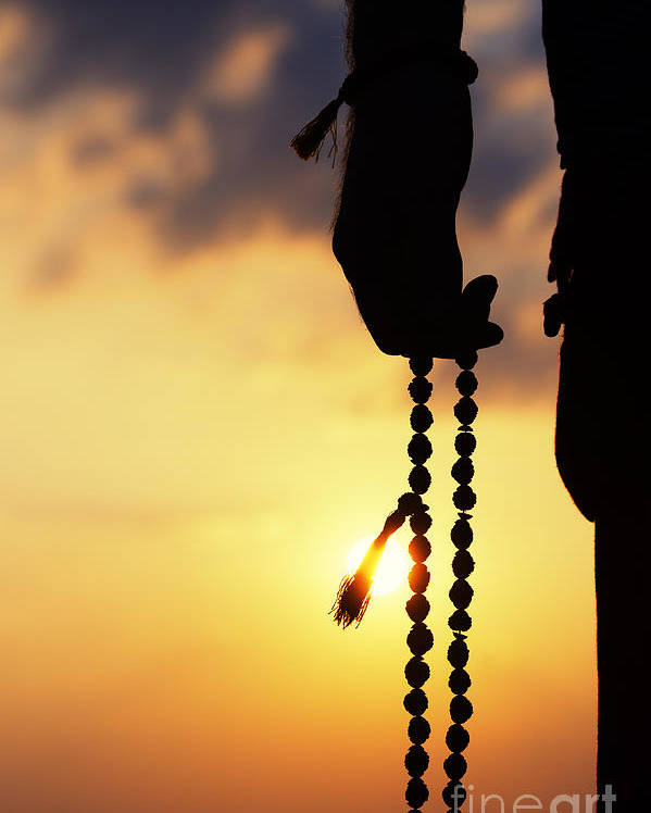 Hand Poster featuring the photograph Hand Holding Rudraksha Beads by Tim Gainey