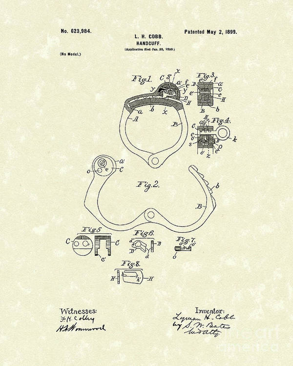 Cobb Poster featuring the drawing Handcuff 1899 Patent Art by Prior Art Design
