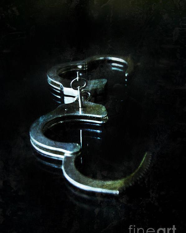Handcuffs Poster featuring the photograph Handcuffs On Black by Jill Battaglia