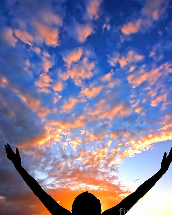 Active Poster featuring the photograph Hands Up To The Sky Showing Happiness by Michal Bednarek