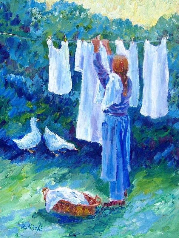 White Linen Poster featuring the painting Hanging The Whites by Trudi Doyle
