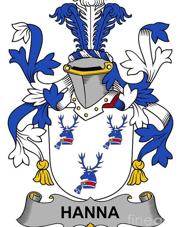 Hanna Poster featuring the digital art Hanna Coat Of Arms Irish by Heraldry