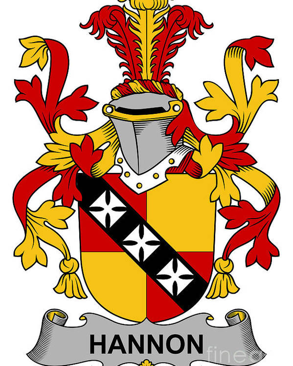 Hannon Poster featuring the digital art Hannon Coat Of Arms Irish by Heraldry