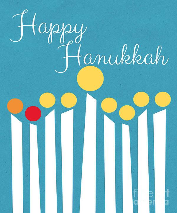 Menorah Poster featuring the mixed media Happy Hanukkah Menorah Card by Linda Woods