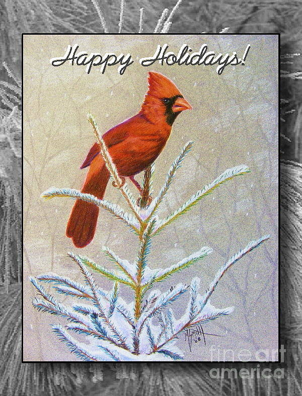 Christmas Card Poster featuring the drawing Happy Holidays by Marilyn Smith