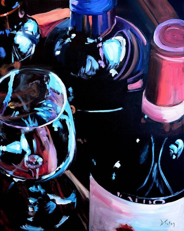 Wine Poster featuring the painting Happy Hour by Donna Tuten