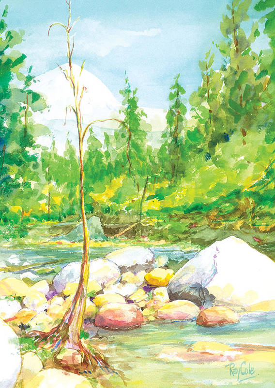 Creek Poster featuring the painting Happy Isles by Ray Cole