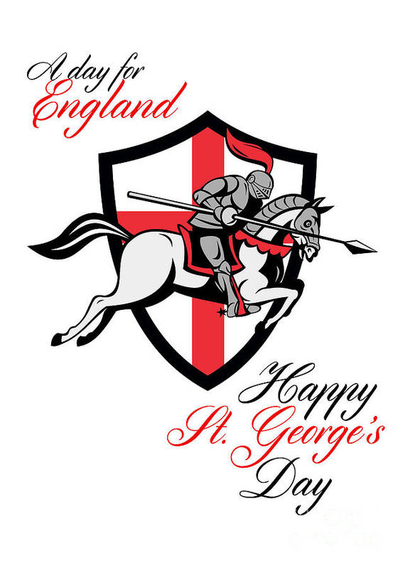 St George Poster featuring the digital art Happy St George Day A Day For England Retro Poster by Aloysius Patrimonio